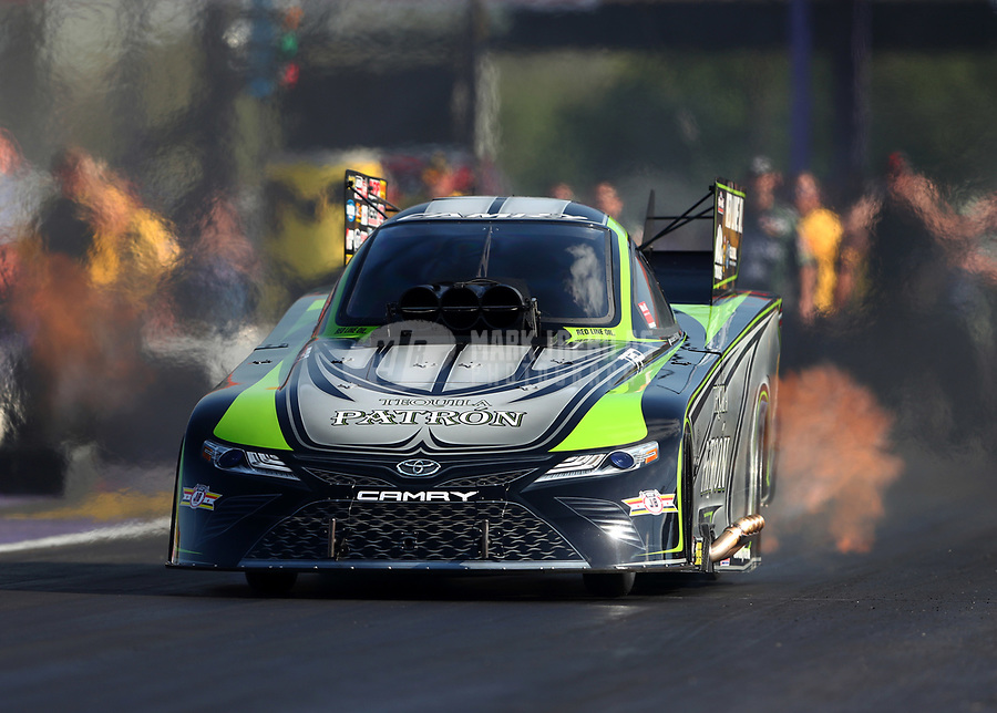 Apr 21, 2017; Baytown, TX, USA; NHRA funny car driver Alexis DeJoria during qualifying for the Springnationals at Royal Purple Raceway. Mandatory Credit: Mark J. Rebilas-USA TODAY Sports