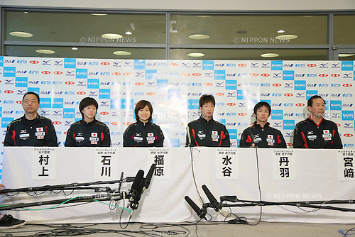 (L to R)  Yasukazu Murakami, Kasumi Ishikawa, Ai Fukuhara, Jun Mizutani, Koki Niwa, Yoshihito Miyazaki (JPN), .JUNE 6, 2012 - Table Tennis : Table Tennis Japan National Team Press Conference for The London Olympics 2012 at Green Arena Kobe, Hyogo, Japan. (Photo by Akihiro Sugimoto/AFLO SPORT) [1080]