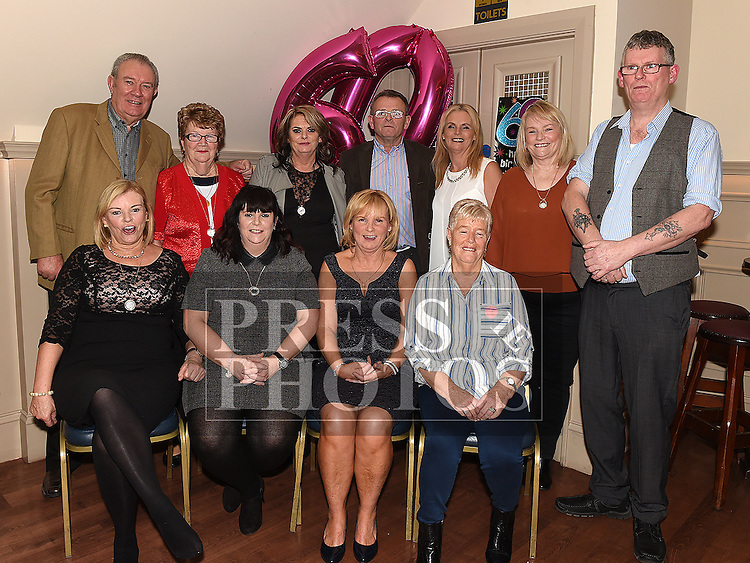Rosie Smith celebrating her 60th birthday with brothers Andrew, Jimmy and Peter and sisters Phil, Marie, Lena, Monica, Bernie, Annmarie and Jackie in the Thatch. Photo:Colin Bell/pressphotos.ie