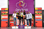Isaac Canton Serrano (ESP) Kometa Cycling Team retains the mountains Maglia Verde Pistacchio on the podium at the end of Stage 2 of Il Giro di Sicilia running 236km from Capo d'Orlando to Palermo, Italy. 4th April 2019.<br /> Picture: LaPresse/Fabio Ferrari | Cyclefile<br /> <br /> <br /> All photos usage must carry mandatory copyright credit (&copy; Cyclefile | LaPresse/Fabio Ferrari)