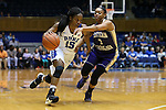 29 December 2015: Duke's Kyra Lambert (15) and Western Carolina's Kyia Hough (3). The Duke University Blue Devils hosted the Western Carolina University Catamounts at Cameron Indoor Stadium in Durham, North Carolina in a 2015-16 NCAA Division I Women's Basketball game.