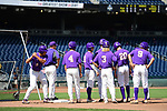 OMAHA, NE - JUNE 26: Louisiana State University players prepare before they take on the University of Florida during the Division I Men's Baseball Championship held at TD Ameritrade Park on June 26, 2017 in Omaha, Nebraska. The University of Florida defeated Louisiana State University 4-3 in game one of the best of three series. (Photo by Justin Tafoya/NCAA Photos via Getty Images)