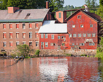A red mill in Springfield, VT, USA