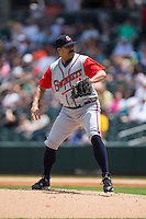 Gwinnett Braves starting pitcher Kanekoa Texeira (54) in action against the Charlotte Knights at BB&T BallPark on May 22, 2016 in Charlotte, North Carolina.  The Knights defeated the Braves 9-8 in 11 innings.  (Brian Westerholt/Four Seam Images)