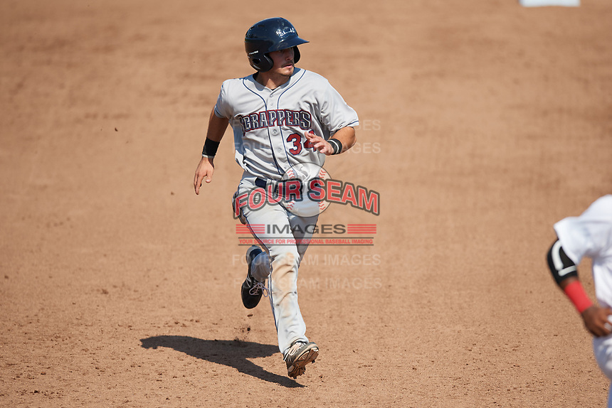 Mahoning Valley Scrappers second baseman Tyler Friis (34) takes third on a wild pitch during the second game of a doubleheader against the Auburn Doubledays on July 2, 2017 at Falcon Park in Auburn, New York.  Mahoning Valley defeated Auburn 3-2.  (Mike Janes/Four Seam Images)