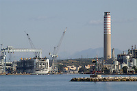 - Fincantieri shipyards and  thermoelectrical  power plant....- cantieri navali Fincantieri e centrale termoelettrica
