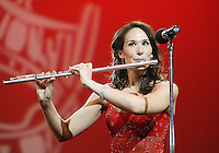 12 July, 2008:    Miss Emerald City Ada Rose Williams performed a musical song by flute in the Talent competition on stage during the 2008 Miss Washington pageant at the Pantages Theater in Tacoma , Washington.