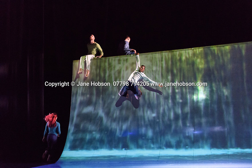 """Motionhouse presents """"Scattered"""", at the Peacock Theatre. The performers are: Martina Bussi, Daniel Connor, Junior Cunningham, Chris Knight, Naomi Tadevossian, Alasdair Stewart, Becci Williams."""