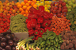 Vegetables and fruit laid out on Market Stall in Santa Cruz de Tenerife, Canary Islands.