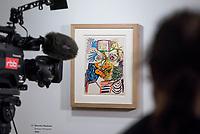 """Die Ausstellung """"Picasso. Das spaete Werk"""" wird vom 9. Maerz bis 16. Juni 2019 im Potsdamer Museum Barberini gezeigt.  Alle Leihgaben, Gemaelde, Keramiken, Skulpturen und Graphiken von Pablo Picasso (1881–1973), stammen aus der Sammlung Jacqueline Picasso (1927–1986).<br /> In der von Gastkurator Bernardo Laniado-Romero getroffenen Auswahl befinden sich zahlreiche Werke, die erstmalig in Deutschland gezeigt werden sowie einige, die zum ersten Mal in einem Museum praesentiert werden.<br /> Im Bild: """"Barocker Musketier"""" Filzstift auf Karton, von 1969. Das Bild wird zum ersten Mal in einer Ausstellung gezeigt.<br /> 7.3.2019, Potsdam<br /> Copyright: Christian-Ditsch.de<br /> [Inhaltsveraendernde Manipulation des Fotos nur nach ausdruecklicher Genehmigung des Fotografen. Vereinbarungen ueber Abtretung von Persoenlichkeitsrechten/Model Release der abgebildeten Person/Personen liegen nicht vor. NO MODEL RELEASE! Nur fuer Redaktionelle Zwecke. Don't publish without copyright Christian-Ditsch.de, Veroeffentlichung nur mit Fotografennennung, sowie gegen Honorar, MwSt. und Beleg. Konto: I N G - D i B a, IBAN DE58500105175400192269, BIC INGDDEFFXXX, Kontakt: post@christian-ditsch.de<br /> Bei der Bearbeitung der Dateiinformationen darf die Urheberkennzeichnung in den EXIF- und  IPTC-Daten nicht entfernt werden, diese sind in digitalen Medien nach §95c UrhG rechtlich geschuetzt. Der Urhebervermerk wird gemaess §13 UrhG verlangt.]"""