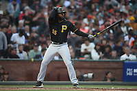 SAN FRANCISCO, CA - AUGUST 11:  Josh Bell #55 of the Pittsburgh Pirates bats against the San Francisco Giants during the game at AT&T Park on Saturday, August 11, 2018 in San Francisco, California. (Photo by Brad Mangin)