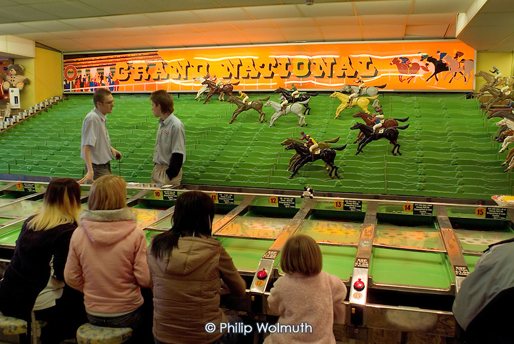 Horse-racing game in an amusement arcade in the Yorkshire seaside resort of Bridlington on Easter Bank Holiday.