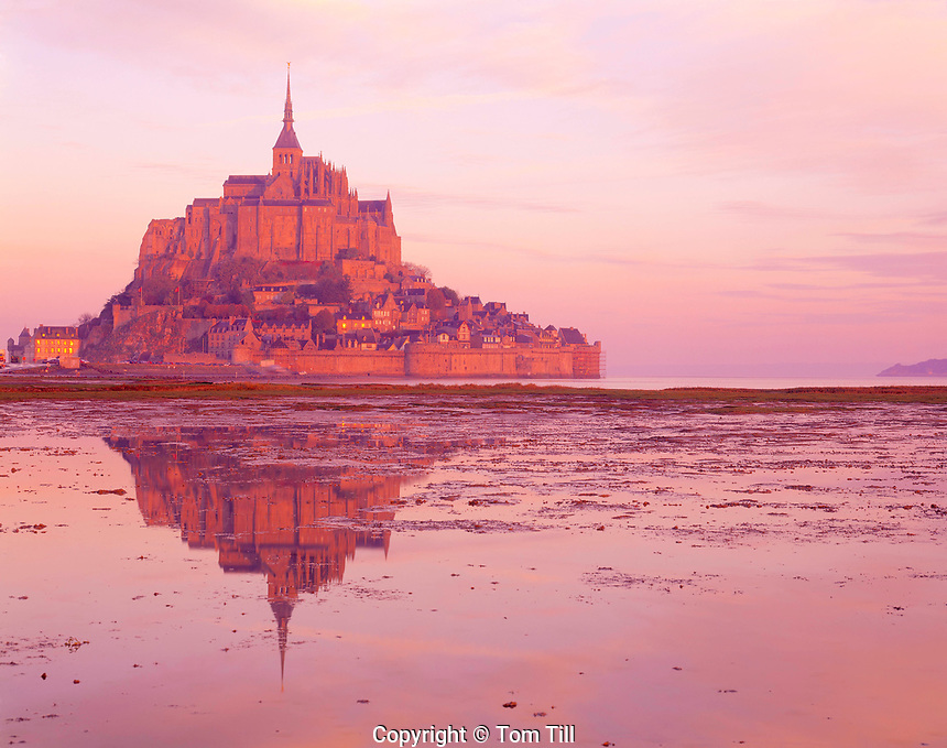 Mont. St. Michel, Normandy, France,    Legendary abbey and town from 8th century,  Atlantic Ocean, Reflection in tidal flats
