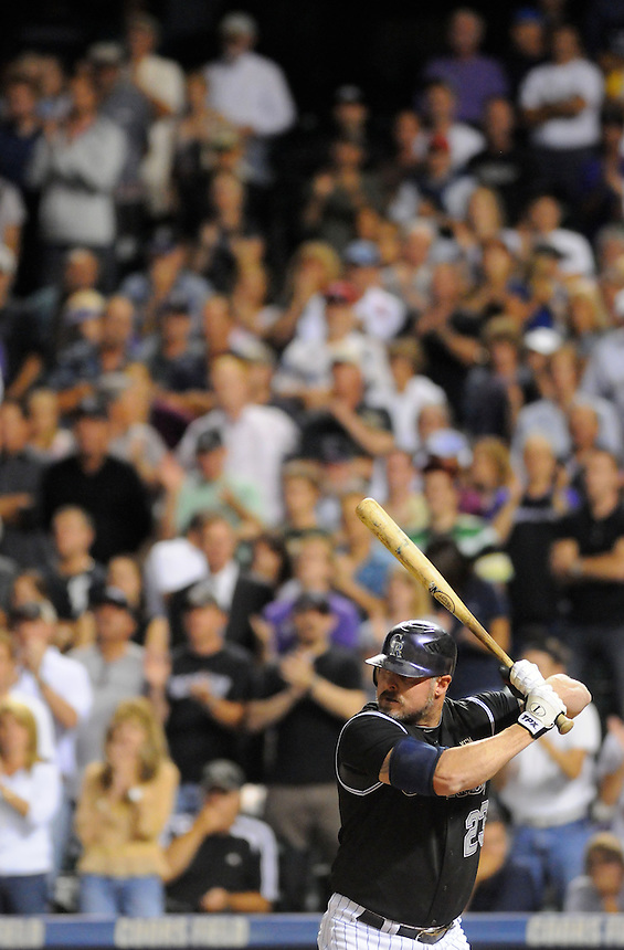 14 SEPTEMBER 2010: The crowd stands to cheer Colorado Rockies first baseman Jason Giambi (23)  during a regular season Major League Baseball game between the Colorado Rockies and the San Diego Padres at Coors Field in Denver, Colorado. The Padres beat the Rockies 7-6.   *****For Editorial Use Only*****