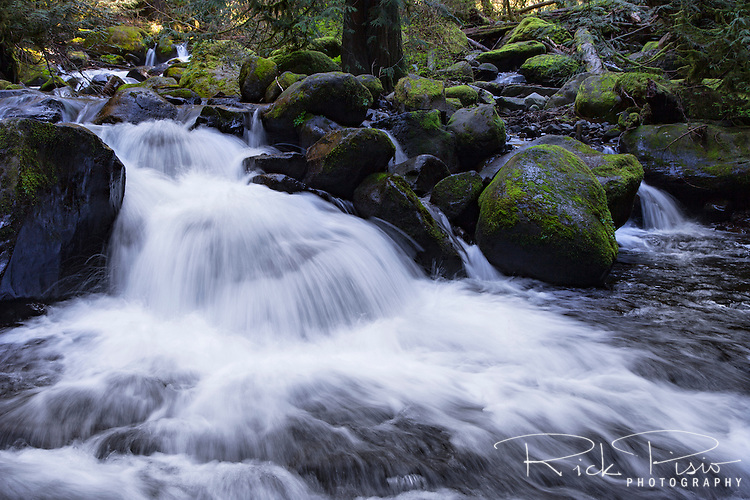 Water rushing over the rocks on its way to the waterfall at Multnomah Falls and finally the Columbia River.