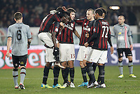 Calcio, quarti di finale di Coppa Italia: Alessandria vs Milan. Torino, stadio Olimpico, 26 gennaio 2016.<br /> AC Milan's Mario Balotelli, third from left, celebrates with teammates after scoring on a penalty kick during the Italian Cup semifinal first leg football match between Alessandria and AC Milan at Turin's Olympic stadium, 26 January 2016.<br /> UPDATE IMAGES PRESS/Isabella Bonotto