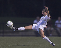 Extra stretch by Boston College forward Alaina Beyar (17). After 2 complete overtime periods, Boston College tied Boston University, 1-1, after 2 overtime periods at Newton Soccer Field, August 19, 2011.