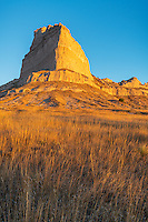 Scotts Bluff National Monument, Nebraska:<br /> Scotts Bluff rises above prairie grasses in morning light