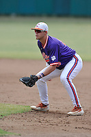 Seth Beer (28) of the Clemson Tigers plays first base in a fall intrasquad scrimmage on Sunday, October 16, 2016, at Doug Kingsmore Stadium in Clemson, South Carolina. (Tom Priddy/Four Seam Images)