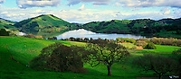 Stafford Lake green hills after rainstorm, Novato, California