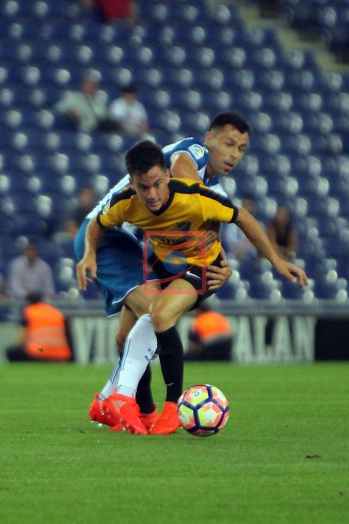League Santander 2016/2017. Game: 2.<br /> RCD Espanyol vs Malaga CF: 2-2.<br /> Juan Pablo A&ntilde;or vs Javi Fuego.