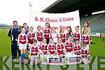 Knockaderry NS Team Pictured Front l-r Sarah Dunleavy, Ruth Daly, Evelyn Daly, Aoife Callaghan, Elaine O'Donoghue, Megan Brosnan, Olivia Gleeson, Middle  l-r Eibhlin O'Leary, Allanah O'Leary, Julianne Murphy, Roisin Daniel, Jessica O'Leary, Katie Brosnan, Caoimhe O'Shea, Brid Flynn, Allana Glennon Back l-r Paudie Deniel Keth Deniel and Aine Daly Principal   at the Allianz Cumann Na mBunscol Girls finals at Austin Stacks Park Tralee on Tuesday