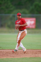 Sean Guilbe (8) while playing for Rawlings National Scout Team based out of Merrick, New York during the WWBA World Championship at the Roger Dean Complex on October 21, 2017 in Jupiter, Florida.  Sean Guilbe is a shortstop / catcher / third baseman from Reading, Pennsylvania who attends Berks Catholic High School.  (Mike Janes/Four Seam Images)