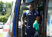 Adebayo Akinfenwa of Wycombe Wanderers arrives for the Sky Bet League 2 match between Crawley Town and Wycombe Wanderers at Broadfield Stadium, Crawley, England on 6 August 2016. Photo by Alan  Stanford / PRiME Media Images.