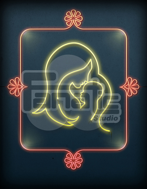 Illustration of mother and baby made from lit neon lights representing love
