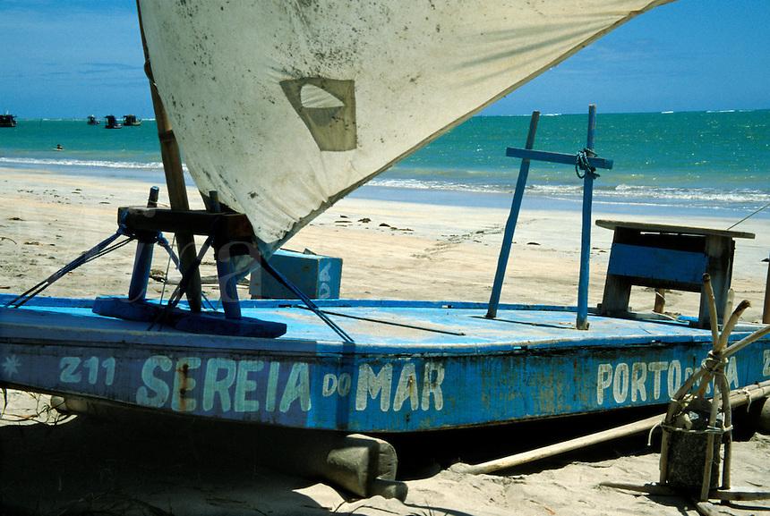 Fishing raft called jangada at Porto da Rua beach, Alagoas, Brazil