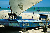 Fishing raft called jangada at Porto da Rua beach, Alagoas, Brazil