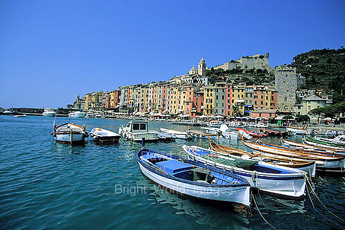 The Bright Colors of the Boats and Facades of Portovenere on the Italian Riviera near the Cinque Terre.
