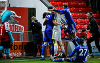 Leicester City U21s' Ryan Loft is mobbed after scoring the winning penalty<br /> <br /> Photographer Alex Dodd/CameraSport<br /> <br /> The EFL Checkatrade Trophy - Northern Group B - Fleetwood Town v Leicester City U21 - Tuesday September 11th 2018 - Highbury Stadium - Fleetwood<br />  <br /> World Copyright &copy; 2018 CameraSport. All rights reserved. 43 Linden Ave. Countesthorpe. Leicester. England. LE8 5PG - Tel: +44 (0) 116 277 4147 - admin@camerasport.com - www.camerasport.com