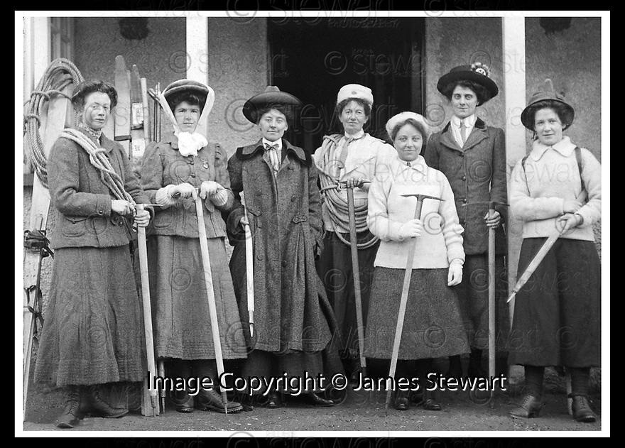 15/05/2008   Collect Pic: James Stewart.File Name : sct_jspa05_climbing.LADIES SCOTTISH CLIMBING CLUB NEW YEAR MEET, CRIANLARICH HOTEL, 1909. L TO R : L. SMITH, K. STUART, R. RAEBURN, JANES INGLIS CLARKE, M. ECKHARDT, I. MCBRIDE, P. RANKEN.(See copy from George Mair / Tim Bugler).....James Stewart Photo Agency 19 Carronlea Drive, Falkirk. FK2 8DN      Vat Reg No. 607 6932 25.Studio      : +44 (0)1324 611191 .Mobile      : +44 (0)7721 416997.E-mail  :  jim@jspa.co.uk.If you require further information then contact Jim Stewart on any of the numbers above........