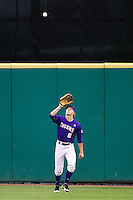 LSU Tigers outfielder Andrew Stevenson #6 camps under a fly ball Auburn Tigers in the NCAA baseball game on March 23, 2013 at Alex Box Stadium in Baton Rouge, Louisiana. LSU defeated Auburn 5-1. (Andrew Woolley/Four Seam Images).
