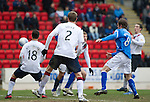 St Johnstone v Rangers...14.01.12  .Marcus Haber (hidden) heads in Saints goal.Picture by Graeme Hart..Copyright Perthshire Picture Agency.Tel: 01738 623350  Mobile: 07990 594431