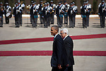 US President Barack Obama is welcomed by Palestinian President Mahmoud Abbas, as he arrives in Ramallah, West Bank.<br /> <br /> Photo by Ahikam Seri