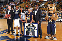 25 February 2012:  FIU guard Jeremy Allen (32) is honored during a pre-game ceremony before playing his final game at FIU.  The FIU Golden Panthers defeated the University of South Alabama Jaguars, 81-74, at the U.S. Century Bank Arena in Miami, Florida.