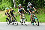 The lead group with Emanuel Buchmann (GER) Bora-Hansgrohe, Romain Bardet (FRA) AG2R La Mondiale, Adam Yates (GBR) Mitchelton-Scott and Geraint Thomas (WAL) Yellow Jersey Team Sky on the final climb during Stage 7 of the 2018 Criterium du Dauphine 2018 running 136km from Moutiers to Saint Gervais Mont Blanc, France. 10th June 2018.<br /> Picture: ASO/Alex Broadway | Cyclefile<br /> <br /> <br /> All photos usage must carry mandatory copyright credit (© Cyclefile | ASO/Alex Broadway)