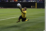 09 December 2011: UNCC's Klay Davis makes a diving save. The Creighton University Bluejays played the University of North Carolina Charlotte 49ers to a 0-0 overtime tie, the 49ers won the penalty shootout 4-1 to advance at Regions Park in Hoover, Alabama in an NCAA Division I Men's Soccer College Cup semifinal game.
