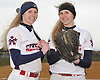 MacArthur twins Ashley Budrewicz #4, left, and Jessica Budrewicz #9 pose for a portrait before a non-league varsity softball game against Massapequa at MacArthur High School on Tuesday, March 20, 2018.