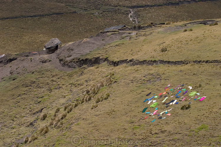 Clothes drying in the sun on a hillside near a family compound near Simiatug, Ecuador. (Supporting image from the project Hungry Planet: What the World Eats.)