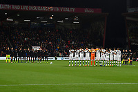 Both teams share a minutes silence for the Leicester victims during AFC Bournemouth vs Norwich City, Caraboa Cup Football at the Vitality Stadium on 30th October 2018