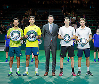 Februari 15, 2015, Netherlands, Rotterdam, Ahoy, ABN AMRO World Tennis Tournament, Jean-Julien Rojer (NED) / Horia Tegau (ROU) - Jamie Murray (GBR) / John Peers (AUS)<br /> Photo: Tennisimages/Henk Koster