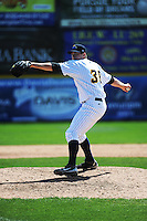 Trenton Thunder pitcher Danny Burawa (38) during game against the Akron Aeros at ARM & HAMMER Park on April 17, 2013 in Trenton, New Jersey.  Akron defeated Trenton 10-6.  Tomasso DeRosa/Four Seam Images