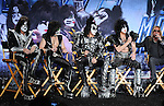 HOLLYWOOD, CA - MARCH 20: Tommy Thayer, Gene Simmons, Eric Singer, Paul Stanley of Kiss and Vince Neil of Motley Crue attend the 'Kiss, Motley Crue: The Tour' Press Conference at Hollywood Roosevelt Hotel on March 20, 2012 in Hollywood, California.