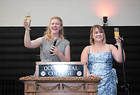 Chloe Zeller (left) and Georgia Arnold, both class of 2019, host.<br /> Graduating seniors, faculty and staff enjoy Class Day and Senior Brunch in Rush Gym, Friday, May 17, 2019.<br /> (Photo by Marc Campos, Occidental College Photographer)
