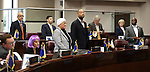 Nevada Senate Democrats stand on the Senate floor to be counted during a floor session at the Legislative Building in Carson City, Nev., on Wednesday, April 15, 2015.<br /> Photo by Cathleen Allison