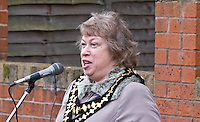 Mayor of Sandwell Joyce Underhill speaking at the Malcom X, Marshall Street, Smethwick, Blue Plaque unveiling