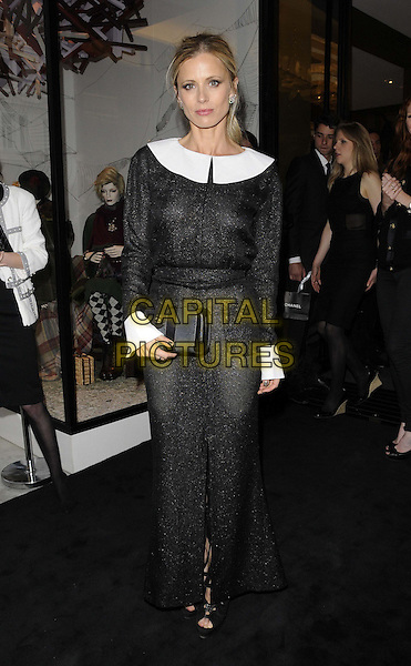 Laura Bailey<br /> The Chanel new flagship boutique launch party, Chanel, New Bond St., London, England.<br /> June 10th, 2013<br /> full length black dress white collar cuffs see through thru nipples slit split clutch bag<br /> CAP/CAN<br /> &copy;Can Nguyen/Capital Pictures